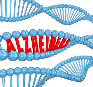 Alzheimer's disease 3d letters in a strand of dna to illustrate medical research looking at genes for a cause and cure
