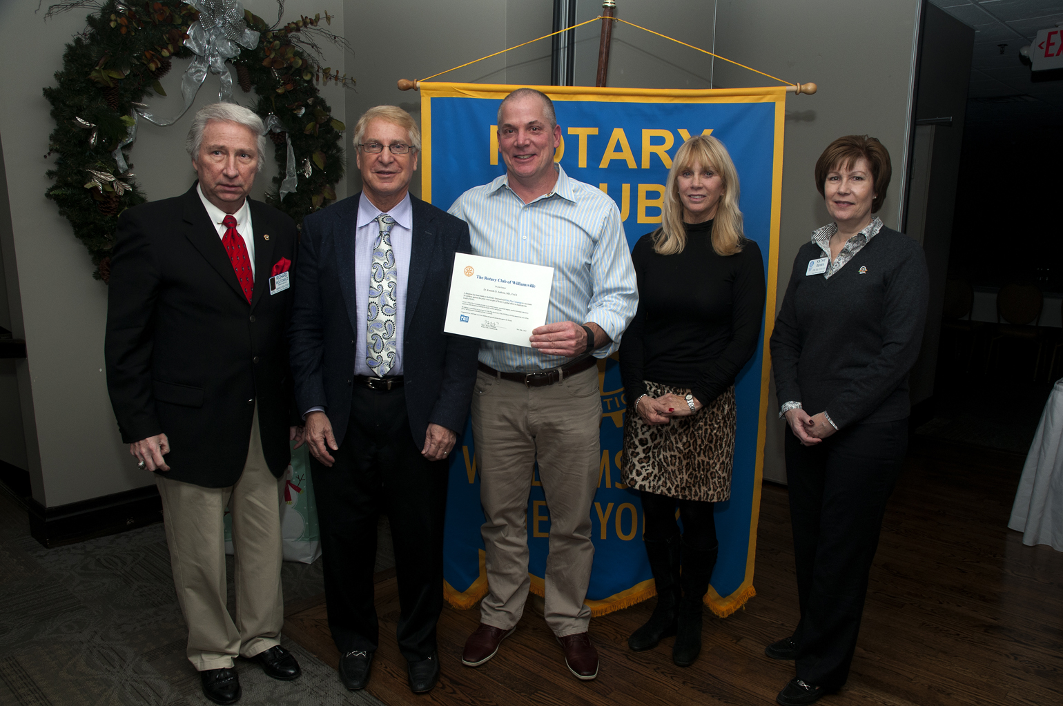 Williamsville Rotary Secretary and President-Elect Richard Wojtowicz, Kenneth Anthone M.D. of Atwal Eye Care, Rotary President Gary Skalyo, Eyes On America Foundation Executive Director Karen Anthone, and Rotary Past President Kathy Behan