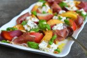 Peaches, Burrata and Prosciutto Salad