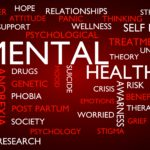 Mental health word tag cloud. 3D rendering, red variant.