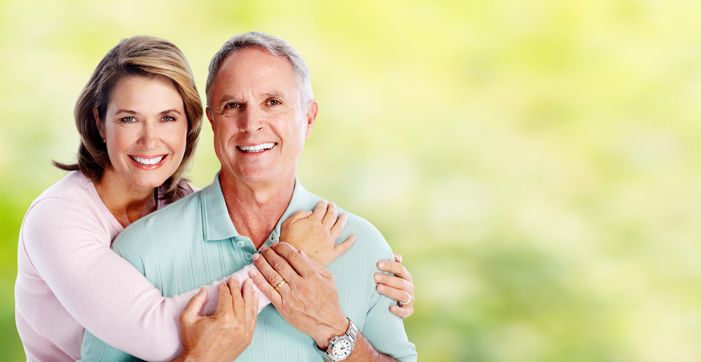 Happy Senior Couple With Healthy Food